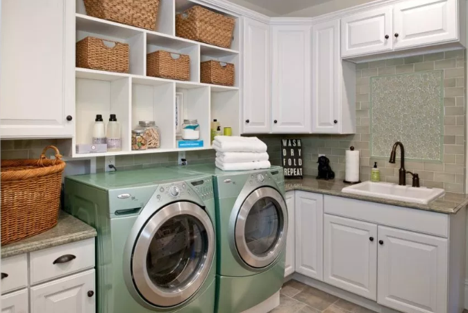 Classic Cabinets for Open Laundry