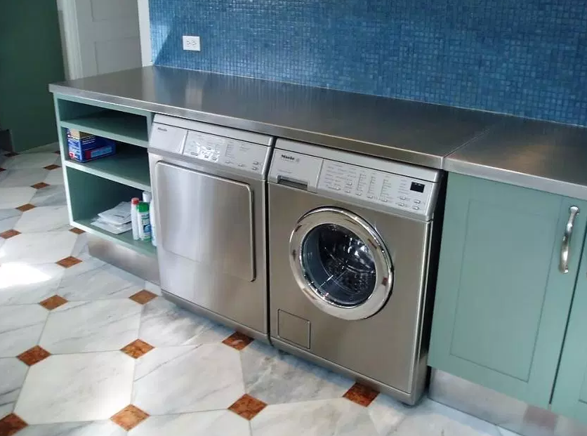 Green laundry Room with Stainless-steel Washing
