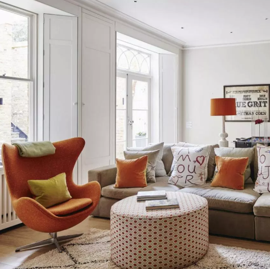 Orange and White - living rooms color ideas