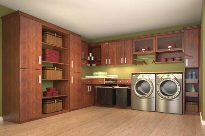 Retro Wood Laundry Room Design