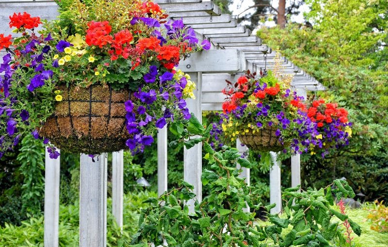 hanging flower basket ideas - Ironwork Hanging Planters